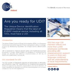 Leaflet: Overview of UDI Requirements in GS1 terms including product identification, barcode symbols and electronic data sharing.