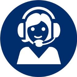 Girl with Headphones on Blue Circle_250px